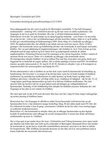 Formandens beretning 2010 - Bjerringbro Tennisklub
