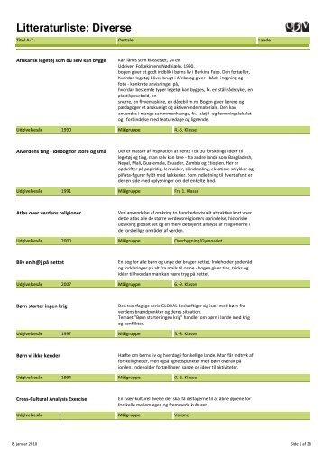 Litteraturliste: Diverse - Oplysningscenter om den 3.Verden