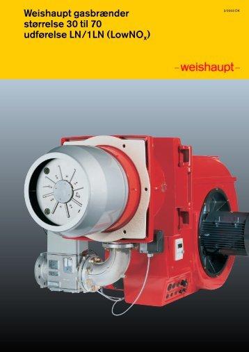 Weishaupt gasbrænder størrelse 30 til 70 udførelse LN/1LN ...