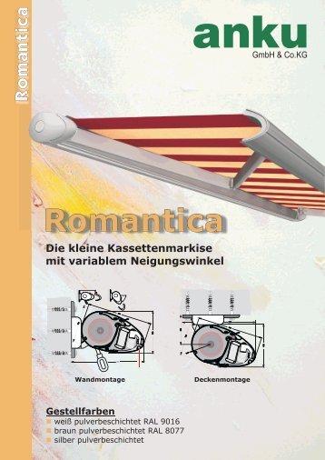 Romantica Kleine Kassettenmarkise mit variablem Neigungswinkel