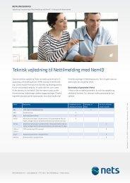 Teknisk vejledning til Nettilmelding med NemID - Nets