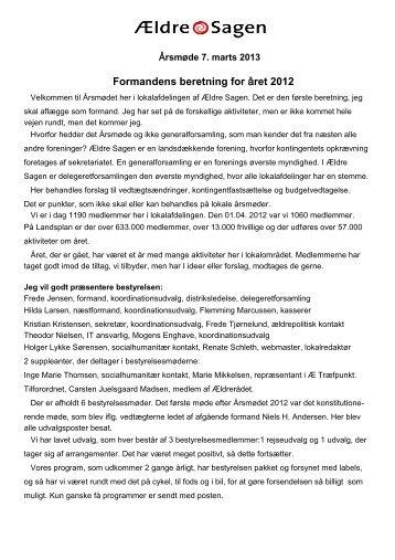 Formandens beretning for året 2012 - Træfpunktet