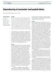 Stigmatisering af mennesker med psykisk lidelse - Ugeskrift for Læger