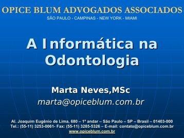 A INFORMÁTICA NA ODONTOLOGIA - SBIS
