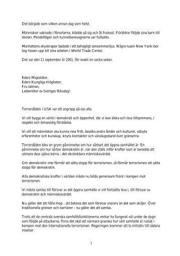 Regeringsförklaringen 2001 - Socialdemokraterna