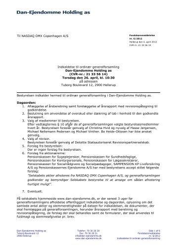 Indkaldelse til ordinær generalforsamling i Dan-Ejendomme ... - DEAS