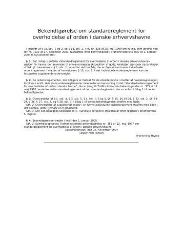 Standardreglement for overholdelse af orden i danske - By og Havn