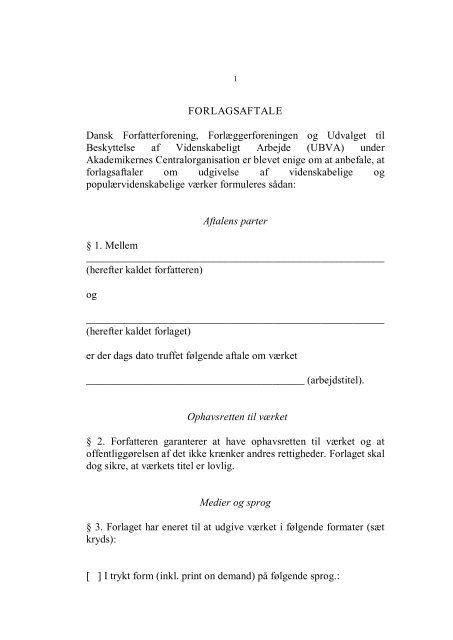 UBVA-aftalen - Dansk Forfatterforening