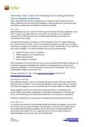 Internship: Cefur – Center för Forskning och Utveckling i Ronneby ...