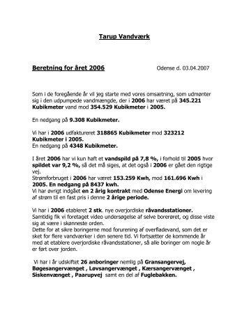 Formandens beretning 2006 - Tarup vandværk