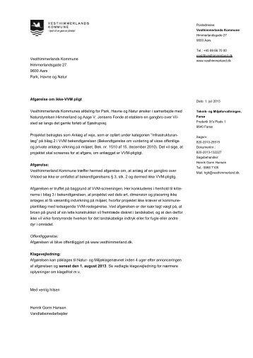Afgørelse om ikke-VVM pligt Vesthimmerlands Kommunes afdeling ...