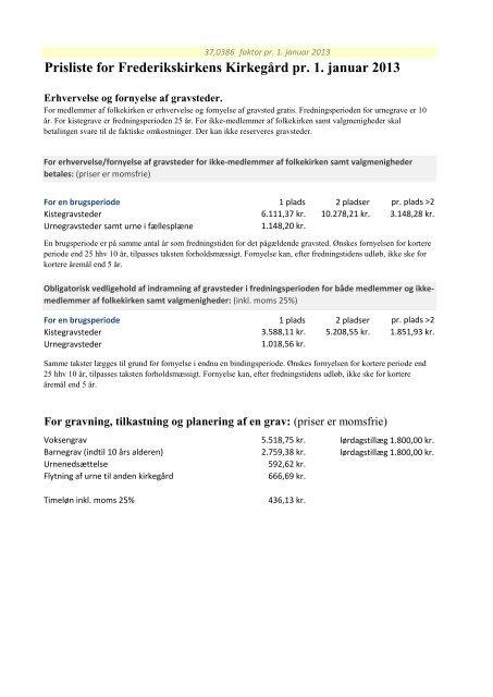 Prisliste for Frederikskirkens Kirkegård pr. 1. januar 2013