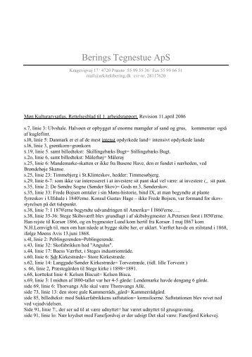 Rettelsesblad til PDF-rapport 1 - Møn Kulturarvsatlas