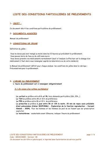 Conditions particuliéres - Manuel de Prélèvement