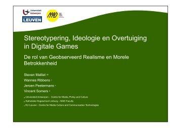 Stereotypering, Ideologie en Overtuiging in Digitale Games g