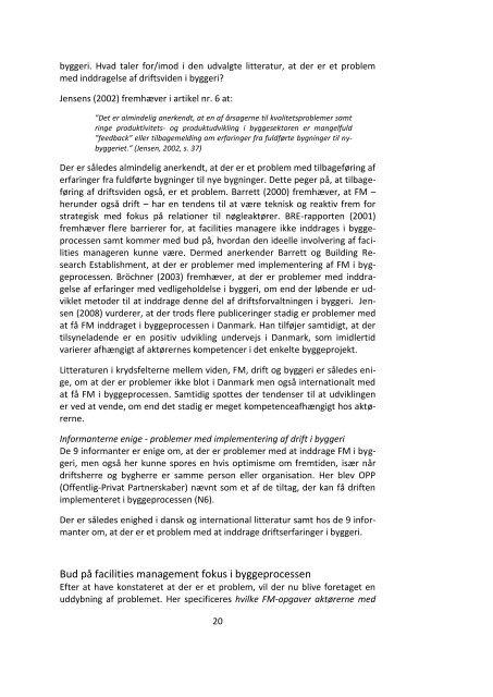Implementering af drift i byggeri - Dansk Facilities Management