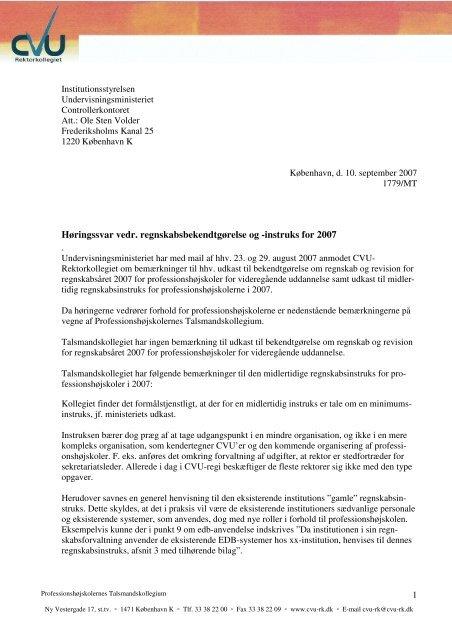 Høringssvar vedr. regnskabsbekendtgørelse og -instruks for 2007