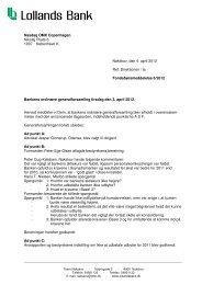 Forløb generaIforsamling 2012 - Lollands Bank
