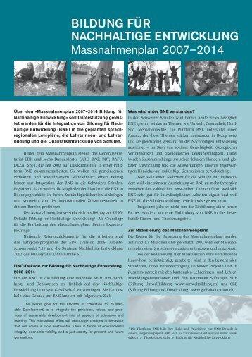 Bildung für Nachhaltige Entwicklung Massnahmenplan ... - Edudoc