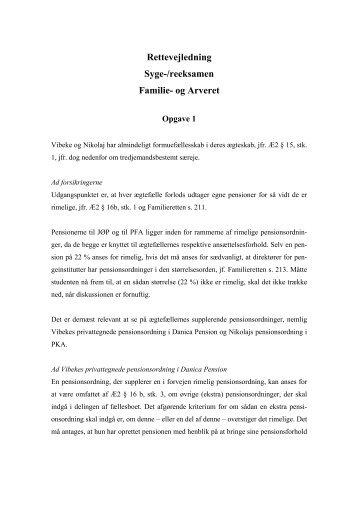 Rettevejledning Syge-/reeksamen Familie- og Arveret