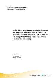 Redovisning av gemensamma organisationer och pågående ...