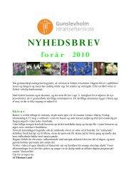 NYHEDSBREV forår 2010 - Gunslevholm Idrætsefterskole