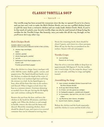 CLASSIC TORTILLA SOUP - Reata Restaurants