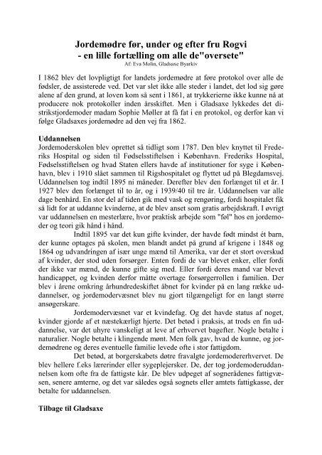 Jordemødre før, under og efter fru Rogvi - Gladsaxe Kommune