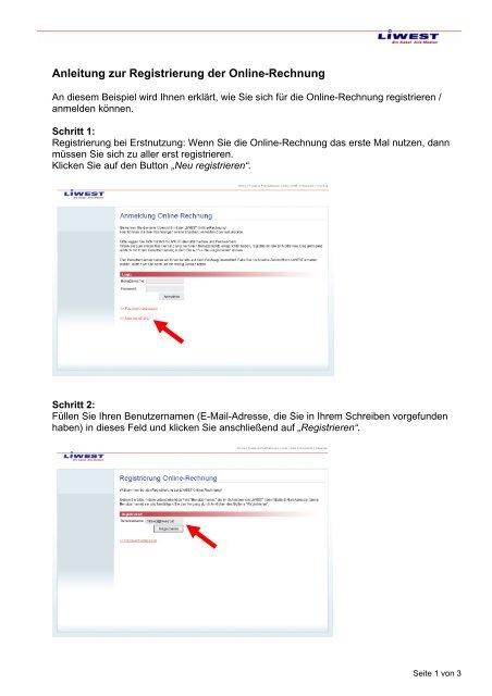 Anmeldung e mail beispiel