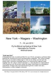 New York – Niagara – Washington - Tour-service