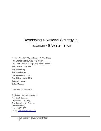 Developing a National Strategy in Taxonomy & Systematics (168KB)