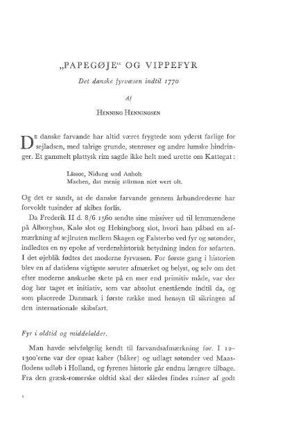 Papegøje og vippefyr, det danske fyrvæsen indtil 1770, s. 1-40