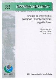 Vandring og ernæring hos laksesmolt i Trondheimsfjorden ... - NINA