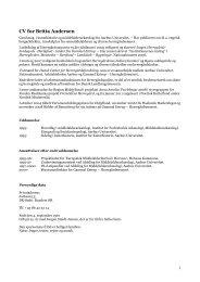 CV for Britta Andersen - PressWire