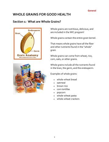 WHOLE GRAINS FOR GOOD HEALTH Section 1
