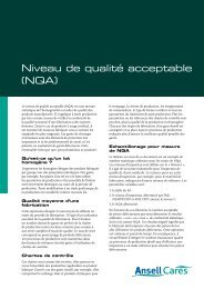 Niveau de qualité acceptable (NQA) - Ansell Healthcare Europe
