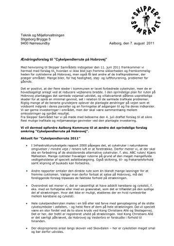 Ændringsforslag til cykelpendlergruppe - Skipper Samrådet