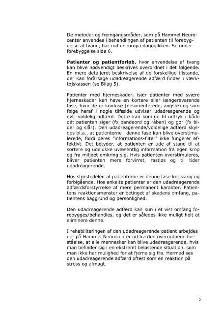 Politik for forebyggelse og anvendelse af tvang i rehabiliteringen