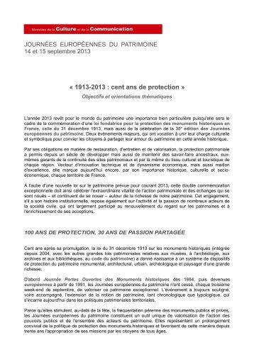 « 1913-2013 : cent ans de protection » - Les journées européennes ...