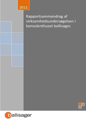 Konsulenthuset ballisagers virksomhedsundersøgelse 2011