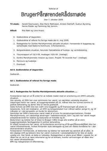 BPR-møde oktober 2009 - Mariehjemmene