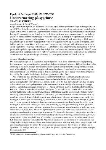 Ugeskrift for Læger 1997; 159:3755-3760 - Jens Kondrup • kondrup ...
