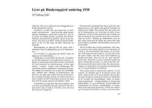 Livet på Binderupgård omkring 1930