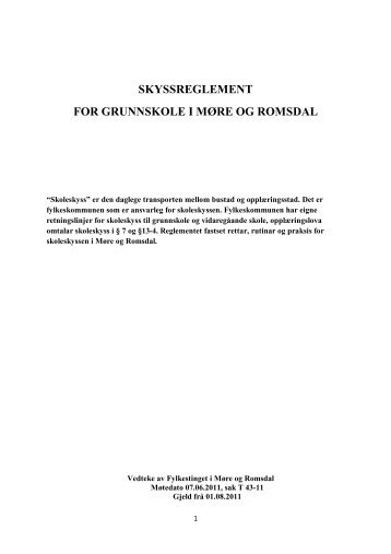 Skyssreglement og rettleiing grunnskole - Møre og Romsdal ...