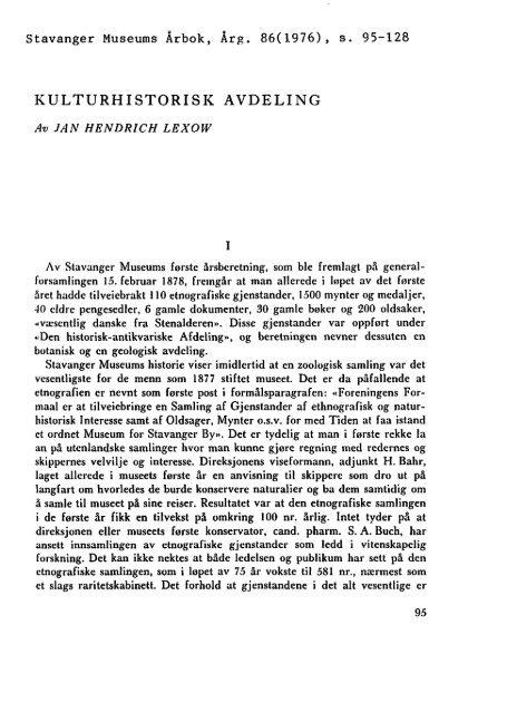 """Kulturhistorisk avdeling"""" (lenke til PDF-fil - Museum Stavanger"""