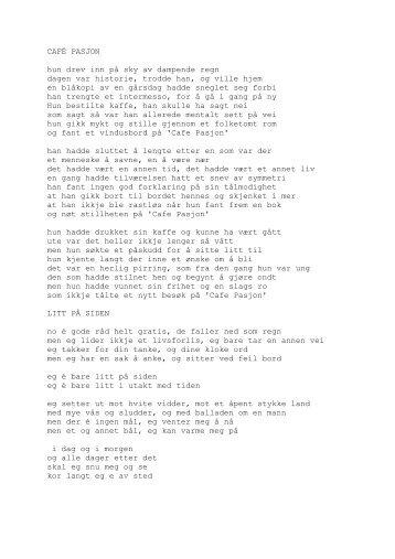 Tekster til Cafe Pasjon - Andersen, Sturle