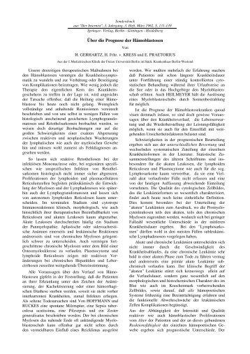 Prognose der Hämoblastosen - Frank Praetorius