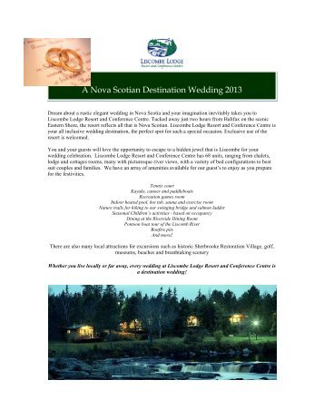 2013 Wedding Guide - Liscombe Lodge Resort and Conference ...