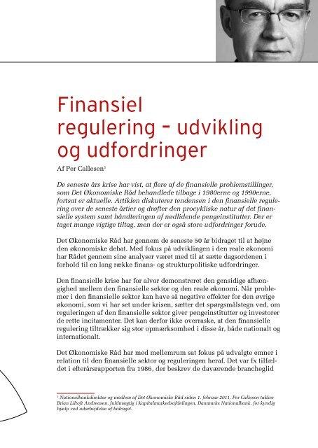 Finansiel regulering – udvikling og udfordringer - De Økonomiske Råd