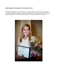 Mette Klingsten har modtaget H. G. Carlsen prisen i 2011. - Danske ...